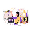 man working with wiring diagrams vector image vector image
