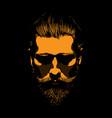 mustache and bearded man portrait in contrastlight vector image vector image