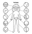 my body parts black and white educational poster vector image