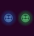 neon emoji gamer glowing sign emoji icon vector image vector image