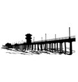 pier over ocean silhouette vector image vector image