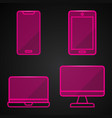 pink neon technology icons on black background vector image