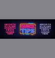 quick tips neon signs quick tips design vector image vector image