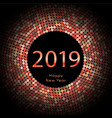 red discoball new year 2019 greeting poster happy vector image vector image