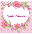 romantinc pink greeting card with flowers vector image vector image
