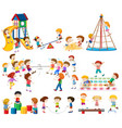 set children at playground vector image vector image