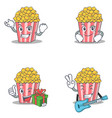 set of popcorn character with successful smirking vector image vector image
