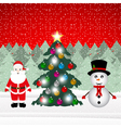 Snowman and Santa Claus with Christmas tree vector image vector image