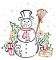Snowman winter vector image vector image