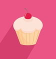 Sweet cherry cupcake flat vector image