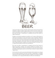 two beer glasses with chips sketch style poster vector image vector image