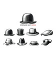 vintage hat collection hand draw engraving style vector image vector image