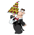 waiter with cake vector image vector image