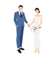 wedding couple holding hands in formal navy blue vector image vector image