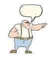 cartoon angry tough guy pointing with speech vector image