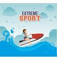 girl jet ski waves sea emblem vector image