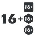 16 plus icon set monochrome vector image vector image