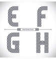 alphabet steel grate style in a set efgh vector image vector image