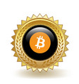 bitcoin cryptocurrency coin gold badge vector image