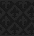 Black textured plastic Fleur-de-lis on diamonds vector image
