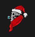 cartoon skull in santa hat vector image