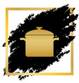 cooking pan sign golden icon at black vector image vector image