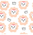 cute baby lions and crowns seamless pattern vector image vector image