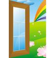 door to meadow vector image vector image