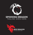 dragon theme logo set vector image