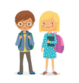 Elementary school pupils boy and girl vector image