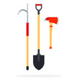 fire gaff shovel and an ax flat isolated vector image vector image