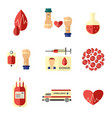 flat blood donation symbols set vector image vector image