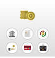 flat icon incoming set of bank hand with coin vector image vector image