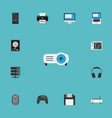flat icons hard disk router slot machine and vector image