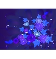 Flowers on deep blue background with dew and stars vector image vector image