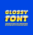 glossy font bright yellow and blue alphabet vector image vector image