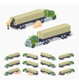 Green heavy truck and trailer with the tarpaulin vector image vector image