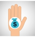 hand concept save bag money vector image vector image