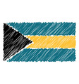 hand drawn national flag of bahamas isolated on a vector image vector image