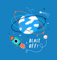 hand drawn space elements and slogan vector image vector image