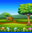 happy easter eggs in the grass with nature backgro vector image vector image