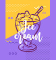ice cream poster with cool design vector image vector image