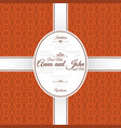 invitation card with orange arabic pattern vector image vector image