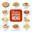 italian food cusine dishes pizza pasta meat and vector image vector image