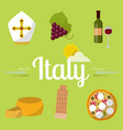 italy travel attraction tourist symbols vector image