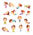 kids yoga decorative icons set vector image