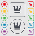 King Crown icon sign symbol on the Round and vector image vector image