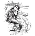 little mermaid vintage vector image vector image
