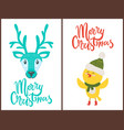 merry christmas bright poster with cute animals vector image
