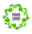 natural organic sign logo with green leaves vector image